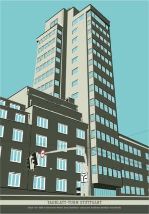 Kunstdruck Tagblattturm Poster Stuttgart Plakat Architektur
