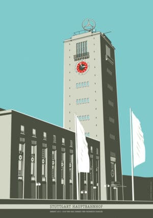 Kunstdruck Hauptbahnhof Poster Stuttgart Plakat Architektur